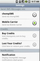 chompSMS Settings Menu