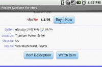 Pocket Auction for eBay Item Bid