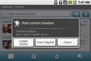 Twidroid Geo Location