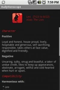 DailyHoroscope Character Details