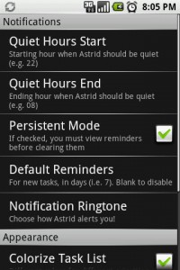 Astrid Settings Menu