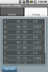 CoursePro Grading Settings
