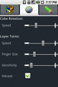 Gube The Rubik's Cube Rotation Settings