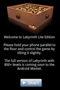 Labyrinth Lite Start Screen