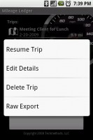 Mileage Ledger Long Press Edit Trip Menu