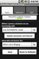 PhonePlus Callback Settings Basic