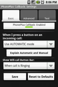 PhonePlus Callback Settings Basic