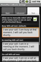 PhonePlus Callback Settings SMS Text Messaging