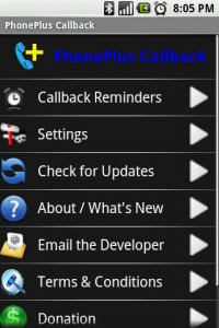 PhonePlus Callback Start Screen