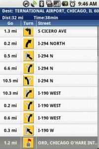 TeleNav GPS Navigator Route Summary