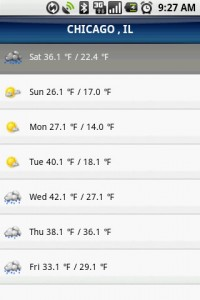 TeleNav GPS Navigator Weather Forecast for the Week