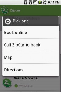 WHERE ZipCar Booking Options