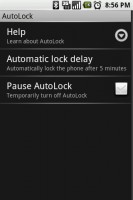 AutoLock Settings Menu