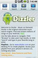 Dizzler Music On Demand Home Screen
