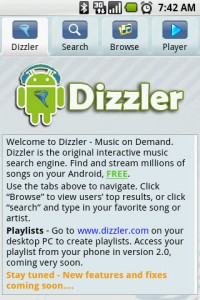 Dizzler Music On Demand Home Screen