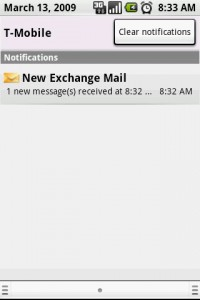Exchange by TouchDown Email Notifications