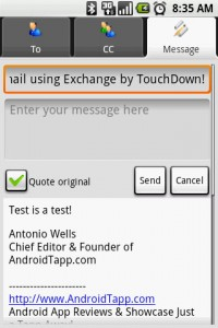 Exchange by TouchDown Reply to Email Message