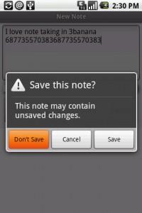 3banana  Notes Save Screen
