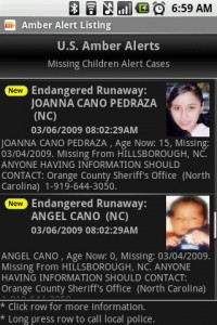 Amber Alert Listings