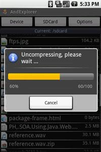AndExplorer Uncompress File 2