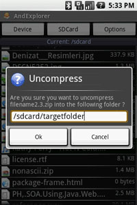 AndExplorer Uncompress File