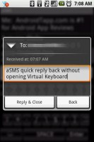 aSMS Quick Reply Back without Opening Virtual Keyboard