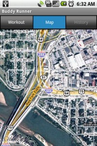Buddy Runner Map in Satellite Mode