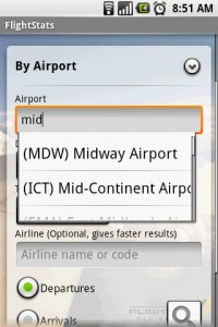 FlightStats Airport Search with Predictive Assistance