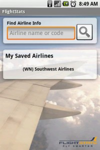 FlightStats Saved Airline with Search