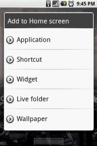 Open Home Add Live Folder to Home Screen