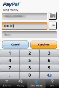PayPal Send Money - Virtual Number Pad