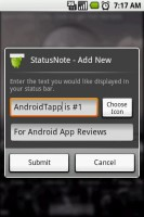 StatusNotes Add New Status Note
