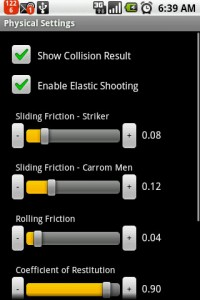 Carrom 3D Settings Menu