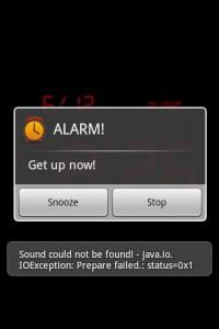 Kaloer Clock Alarm Going Off (Showing funky Java Error because no alarm sound was choosen.)