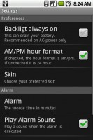 Kaloer Clock Settings Menu