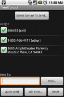 SendContact Contact Selected