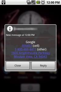 SendContact Receipt of Contact Information via SMS Text