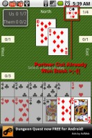 Spades for Android Computer Partner Cut my Won Book (see top right corner)