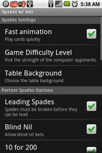 Spades for Android Settings Menu