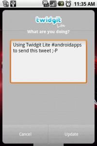 Twidgit Lite Posting Tweet