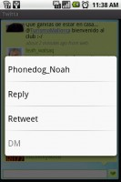 Twitta Longpress Menu Options