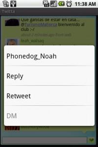 Twitta Longpress Menu Options