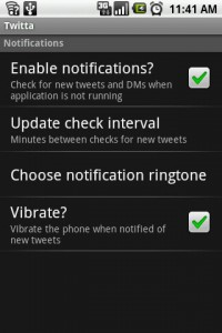 Twitta Settings Menu
