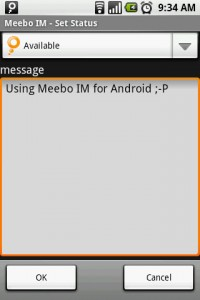 Meebo IM Set Status Message