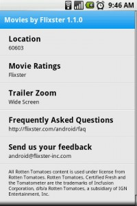 Movies by Flixster Settings