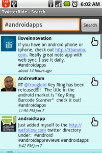TwitterRide Search Android Apps