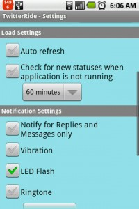 TwitterRide Settings Menu