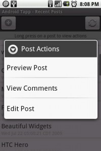 wpToGo Post Actions