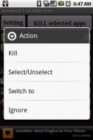 Advanced Task Killer Long Press Menu Actions