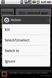 Advanced Task Killer Long Press Menu Actions